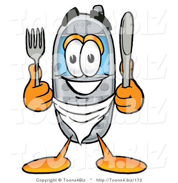 Illustration of a Cartoon Cellphone Mascot Holding a Knife and Fork