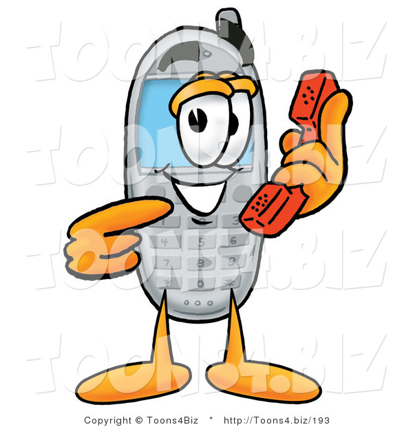 Illustration of a Cartoon Cellphone Mascot Holding a Telephone