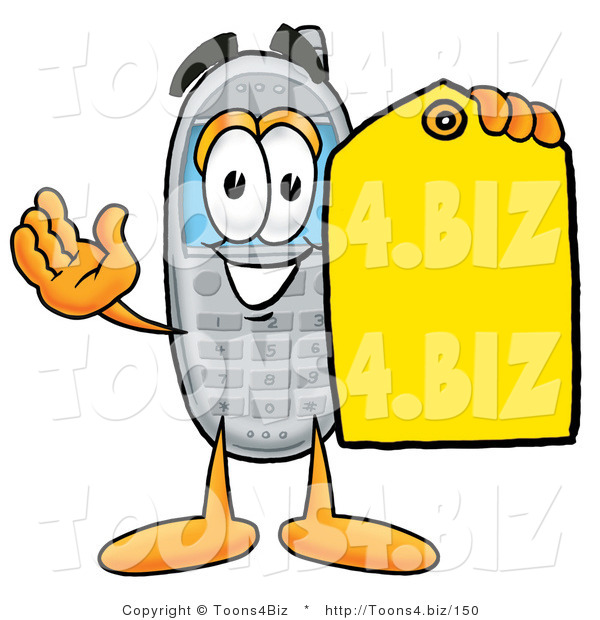 Illustration of a Cartoon Cellphone Mascot Holding a Yellow Sales Price Tag