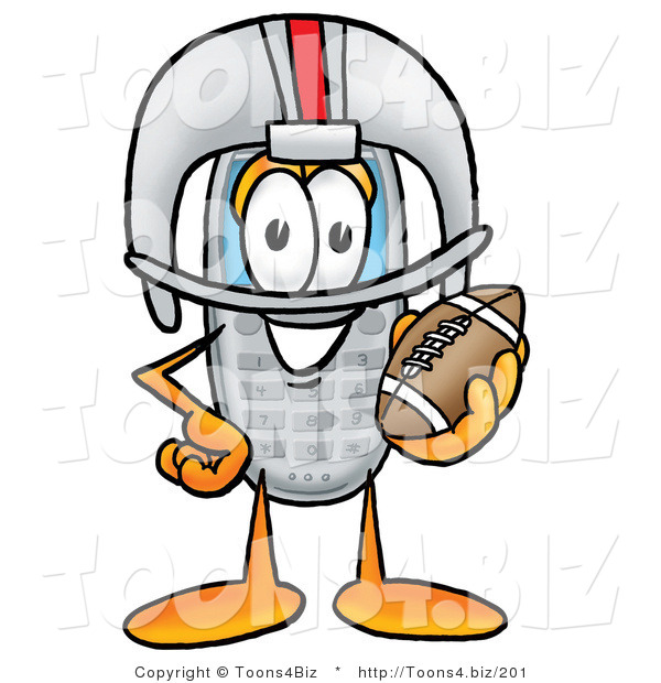 Illustration of a Cartoon Cellphone Mascot in a Helmet, Holding a Football