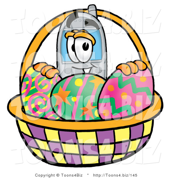 Illustration of a Cartoon Cellphone Mascot in an Easter Basket Full of Decorated Easter Eggs