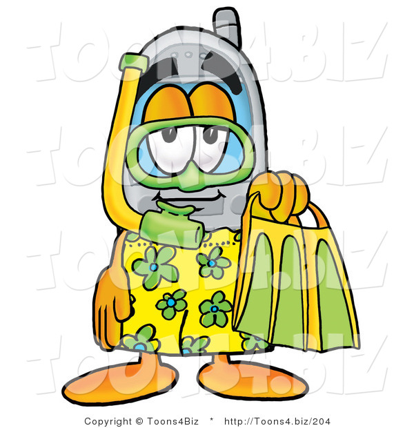 Illustration of a Cartoon Cellphone Mascot in Green and Yellow Snorkel Gear