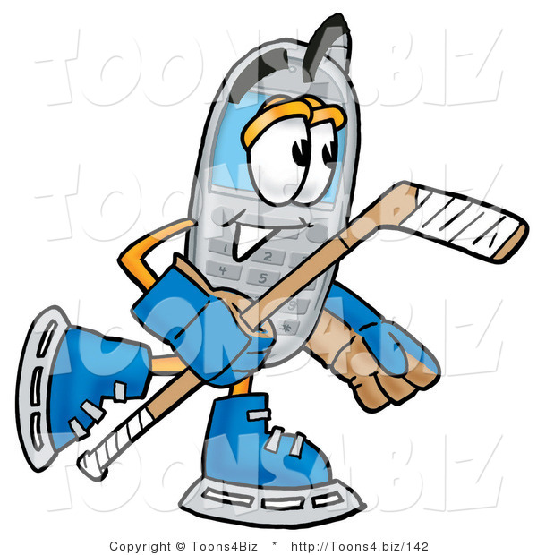 Illustration of a Cartoon Cellphone Mascot Playing Ice Hockey