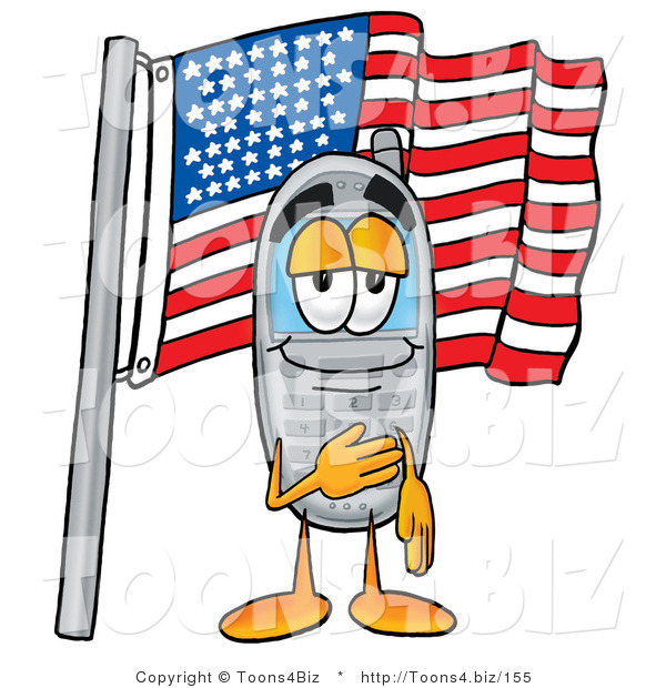 Illustration of a Cartoon Cellphone Mascot Pledging Allegiance to an American Flag