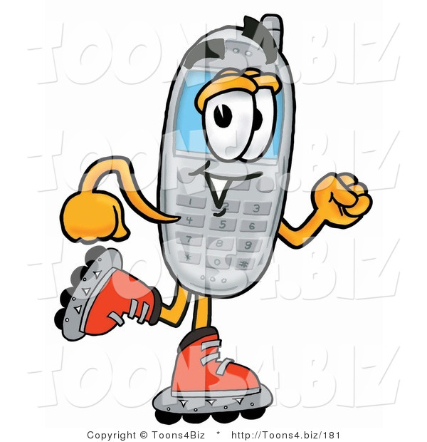 Illustration of a Cartoon Cellphone Mascot Roller Blading on Inline Skates