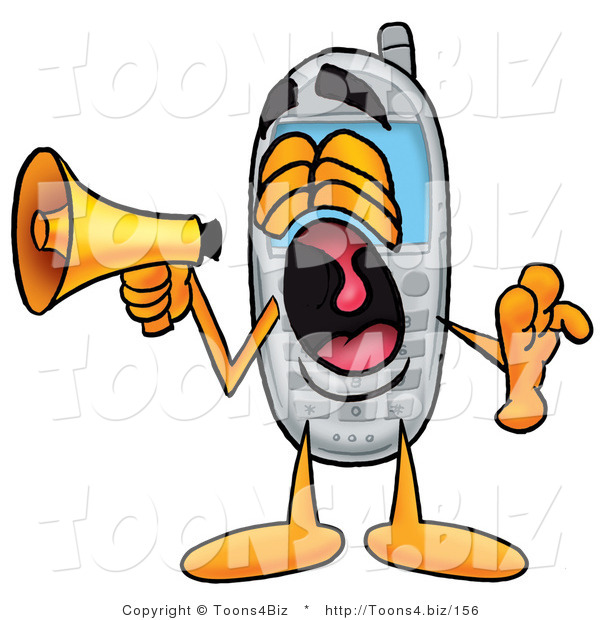 Illustration of a Cartoon Cellphone Mascot Screaming into a Megaphone