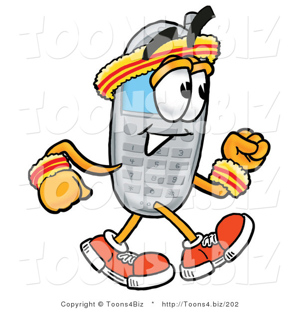 Illustration of a Cartoon Cellphone Mascot Speed Walking or Jogging