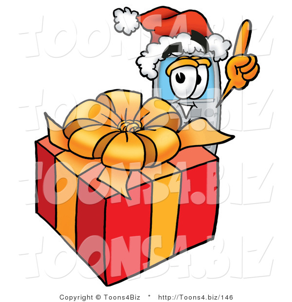 Illustration of a Cartoon Cellphone Mascot Standing by a Christmas Present