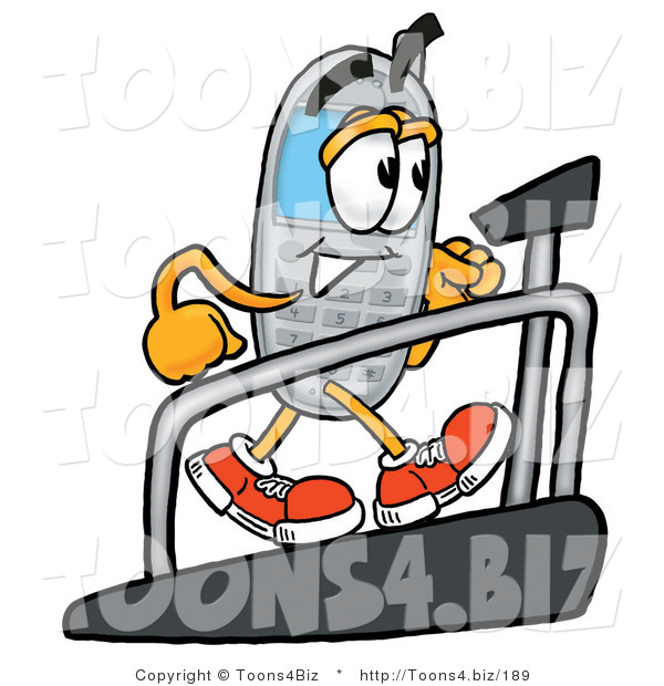Illustration of a Cartoon Cellphone Mascot Walking on a Treadmill in a Fitness Gym