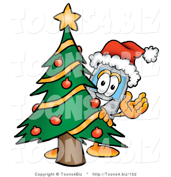 Illustration of a Cartoon Cellphone Mascot Waving and Standing by a Decorated Christmas Tree