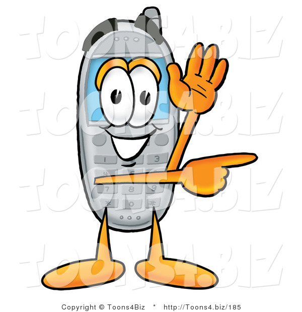 Illustration of a Cartoon Cellphone Mascot Waving from Inside a Computer Screen