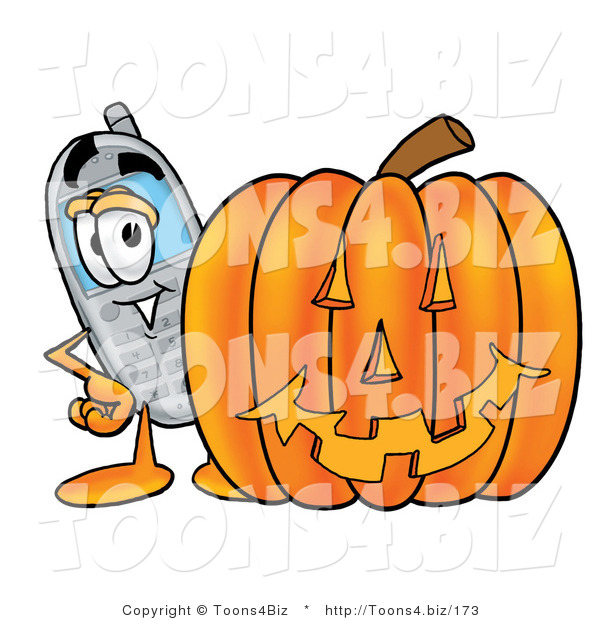 Illustration of a Cartoon Cellphone Mascot with a Carved Halloween Pumpkin