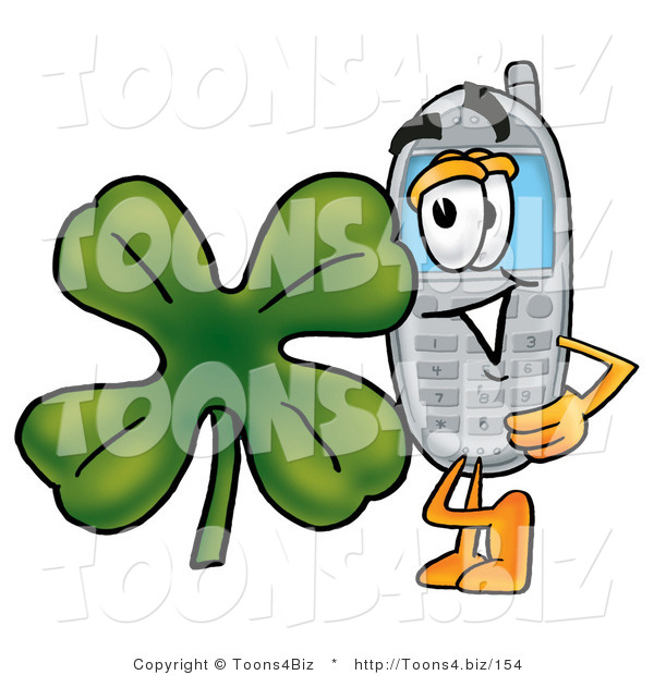 Illustration of a Cartoon Cellphone Mascot with a Green Four Leaf Clover on St Paddy's or St Patricks Day