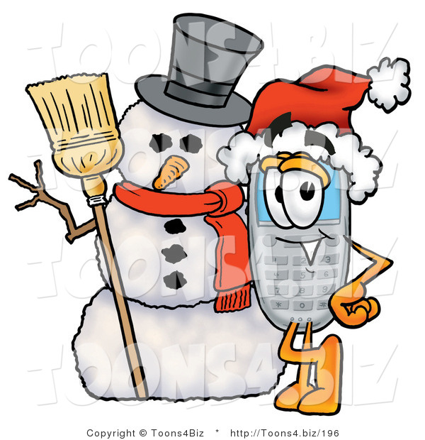 Illustration of a Cartoon Cellphone Mascot with a Snowman on Christmas