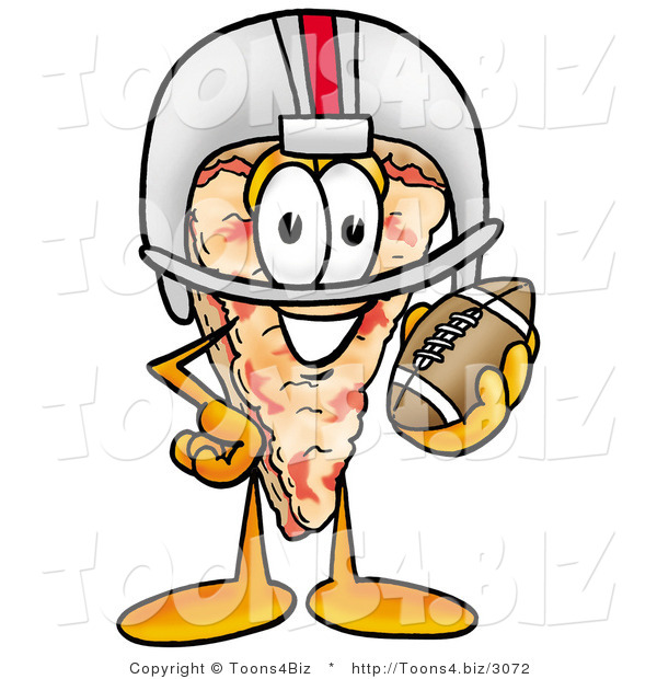 Illustration of a Cartoon Cheese Pizza Mascot in a Helmet, Holding a Football