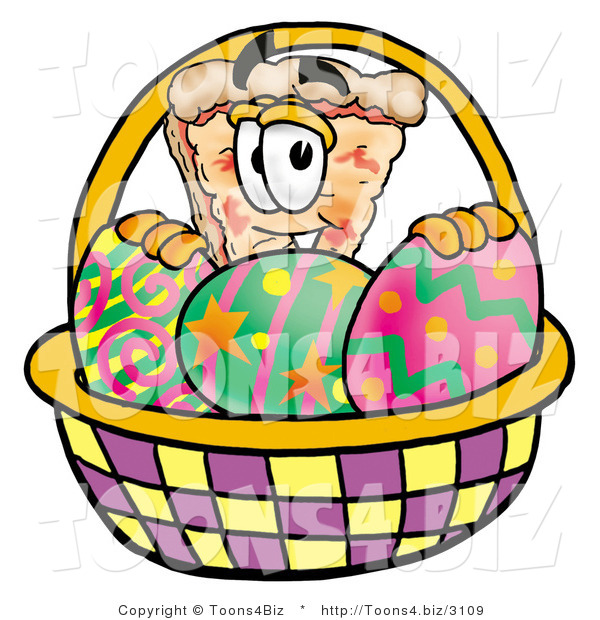 Illustration of a Cartoon Cheese Pizza Mascot in an Easter Basket Full of Decorated Easter Eggs