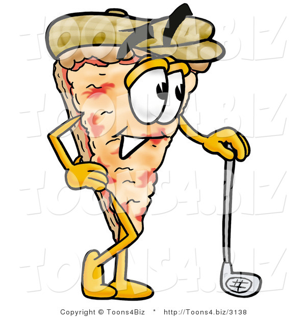 Illustration of a Cartoon Cheese Pizza Mascot Leaning on a Golf Club While Golfing