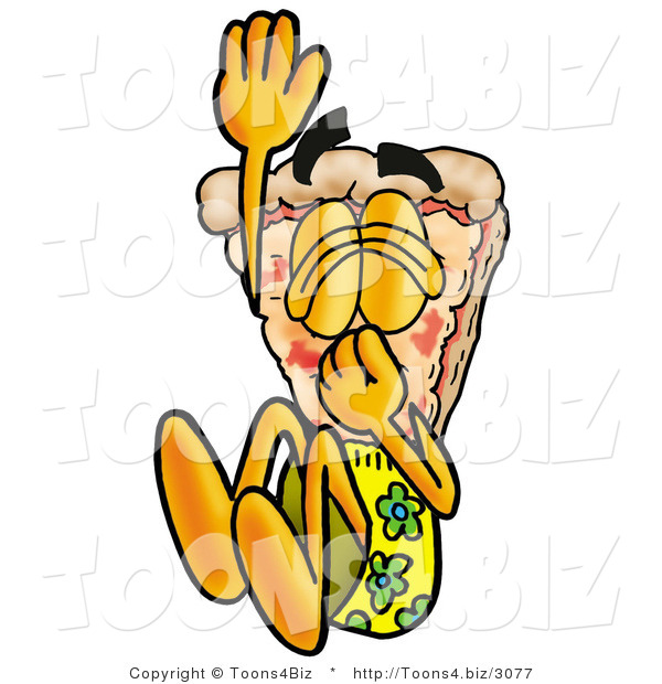Illustration of a Cartoon Cheese Pizza Mascot Plugging His Nose While Jumping into Water