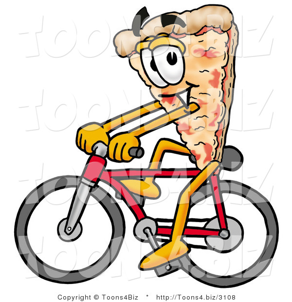 Illustration of a Cartoon Cheese Pizza Mascot Riding a Bicycle