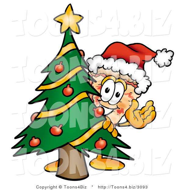 Illustration of a Cartoon Cheese Pizza Mascot Waving and Standing by a Decorated Christmas Tree