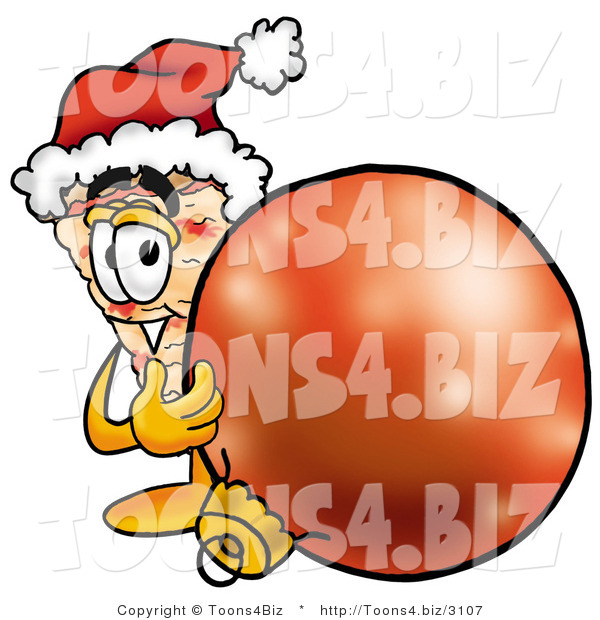 Illustration of a Cartoon Cheese Pizza Mascot Wearing a Santa Hat, Standing with a Christmas Bauble