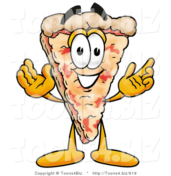 Illustration of a Cartoon Cheese Pizza Mascot with Welcoming Open Arms