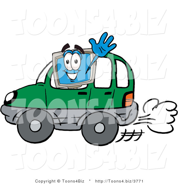 Illustration of a Cartoon Computer Mascot Driving a Green Car and Waving