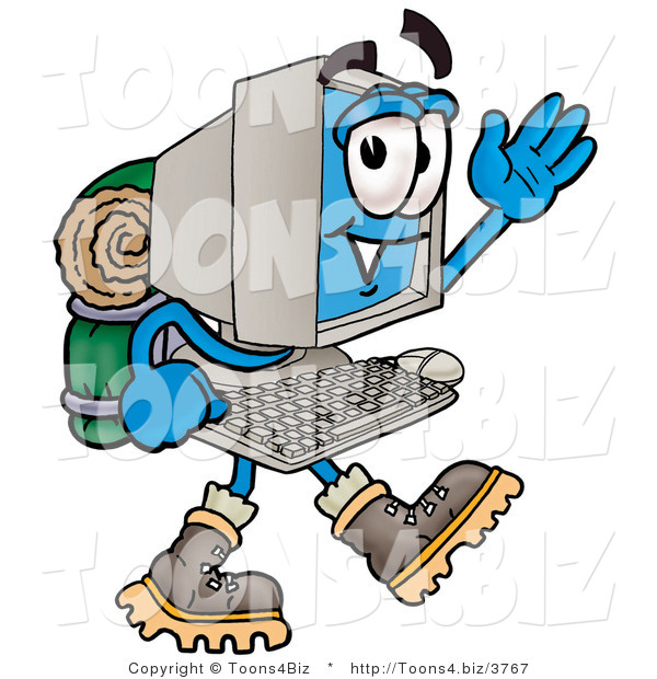 Illustration of a Cartoon Computer Mascot Hiking and Carrying a Backpack