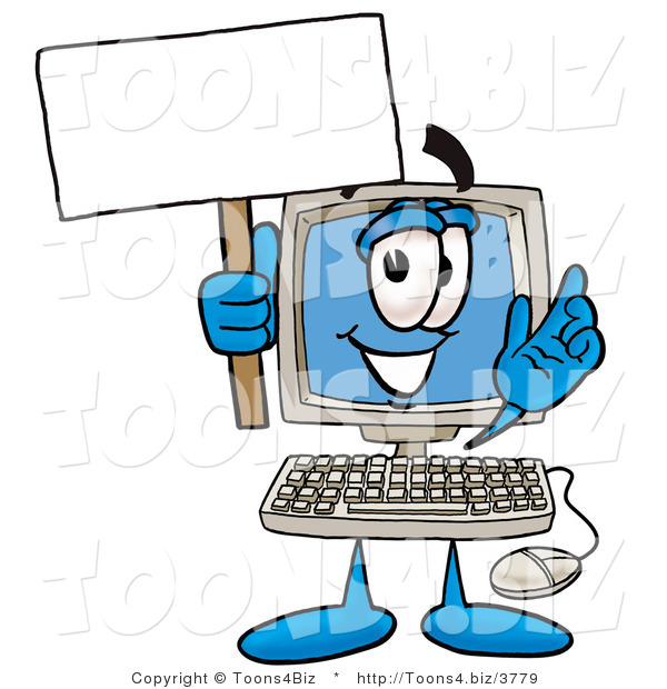 Illustration of a Cartoon Computer Mascot Holding a Blank Sign