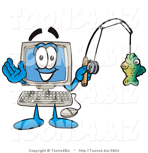 Illustration of a Cartoon Computer Mascot Holding a Fish on a Fishing Pole
