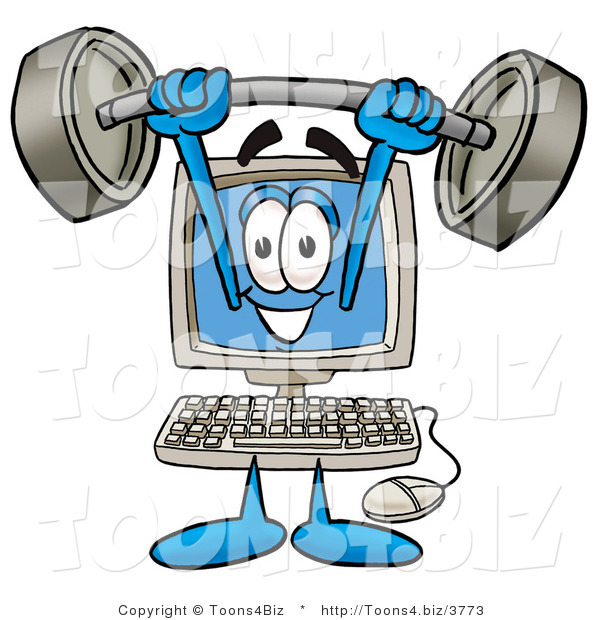 Illustration of a Cartoon Computer Mascot Holding a Heavy Barbell Above His Head
