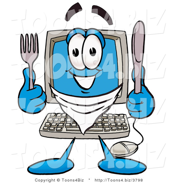 Illustration of a Cartoon Computer Mascot Holding a Knife and Fork