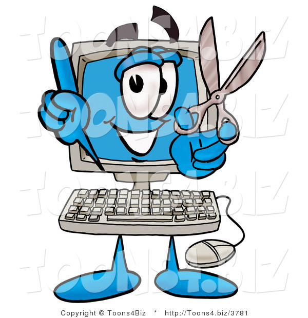 Illustration of a Cartoon Computer Mascot Holding a Pair of Scissors