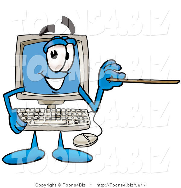 Illustration of a Cartoon Computer Mascot Holding a Pointer Stick