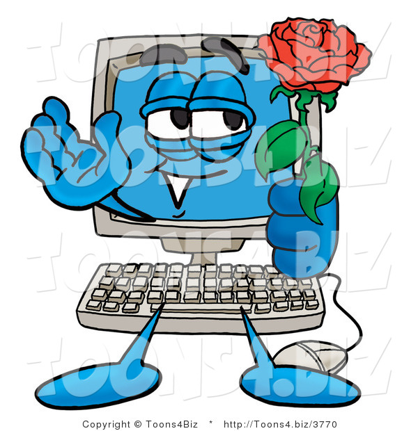 Illustration of a Cartoon Computer Mascot Holding a Red Rose on Valentines Day