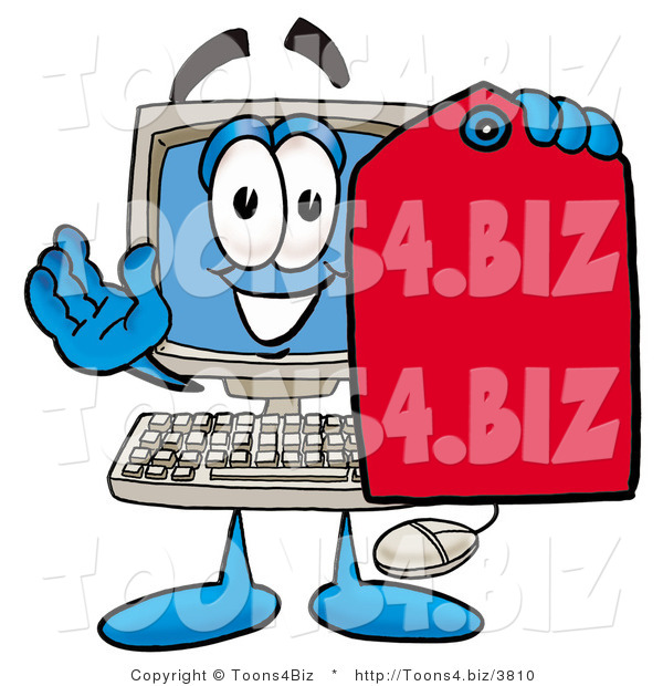 Illustration of a Cartoon Computer Mascot Holding a Red Sales Price Tag