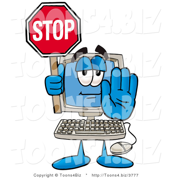 Illustration of a Cartoon Computer Mascot Holding a Stop Sign