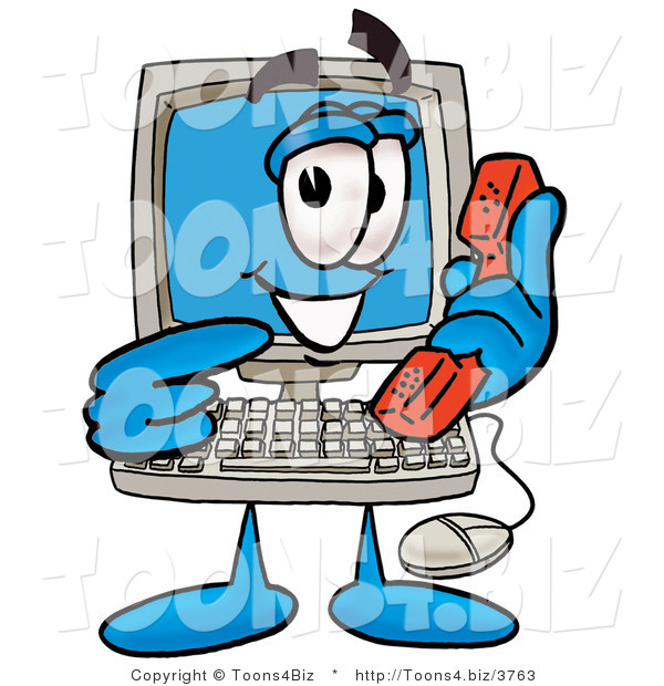 Illustration of a Cartoon Computer Mascot Holding a Telephone