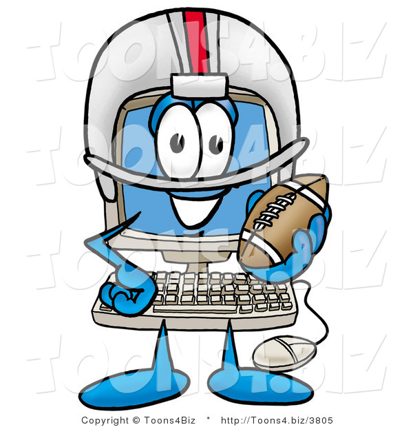 Illustration of a Cartoon Computer Mascot in a Helmet, Holding a Football