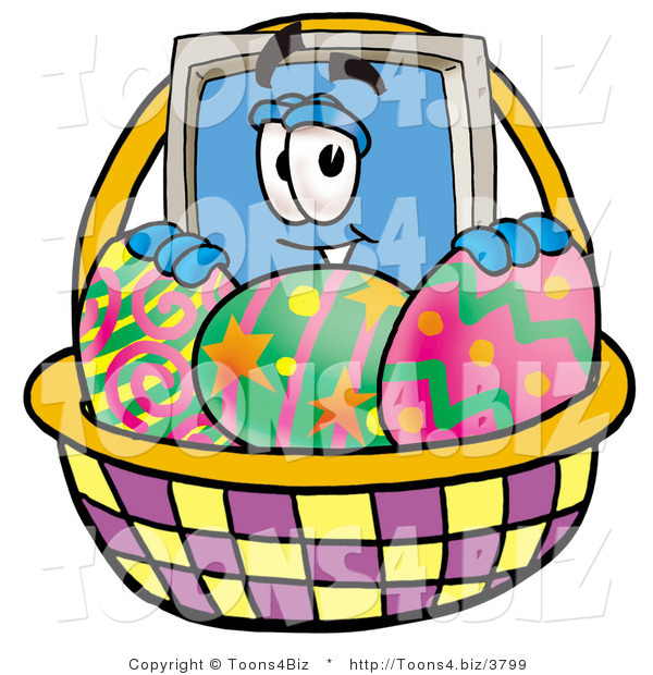 Illustration of a Cartoon Computer Mascot in an Easter Basket Full of Decorated Easter Eggs