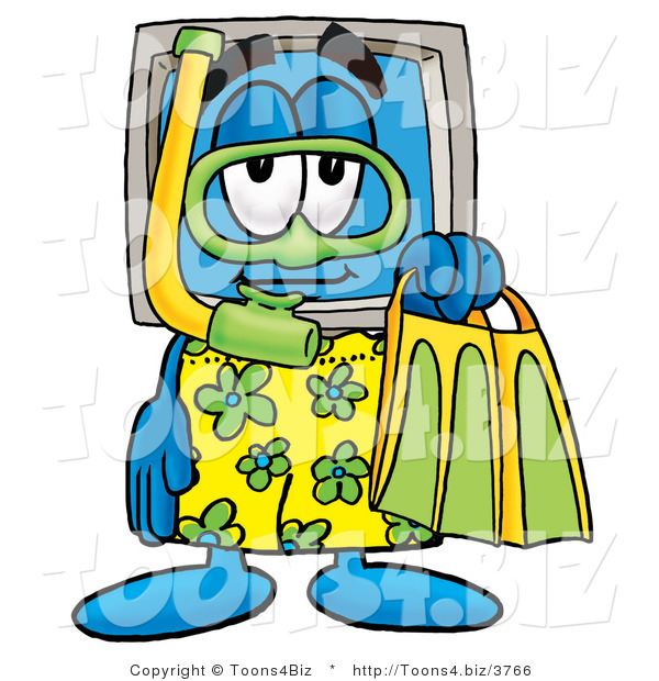 Illustration of a Cartoon Computer Mascot in Green and Yellow Snorkel Gear