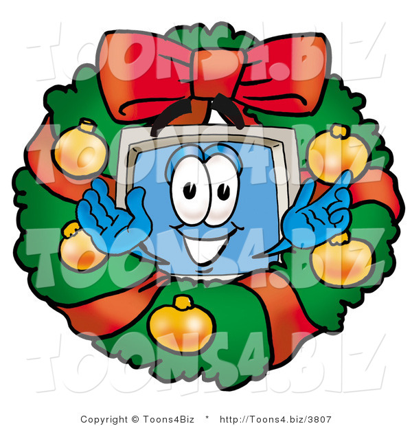Illustration of a Cartoon Computer Mascot in the Center of a Christmas Wreath
