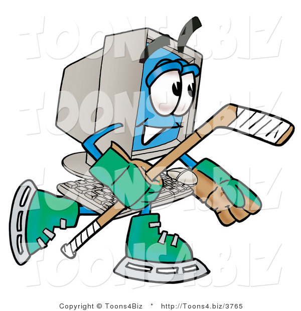 Illustration of a Cartoon Computer Mascot Playing Ice Hockey