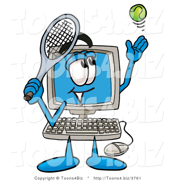 Illustration of a Cartoon Computer Mascot Preparing to Hit a Tennis Ball