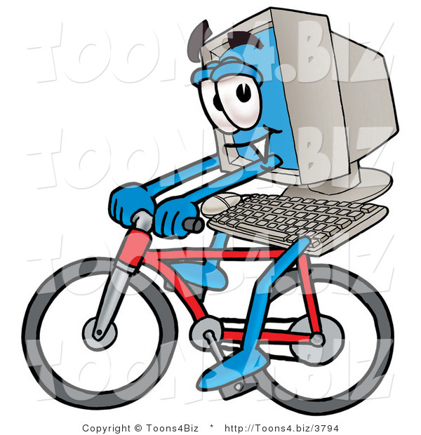 Illustration of a Cartoon Computer Mascot Riding a Bicycle