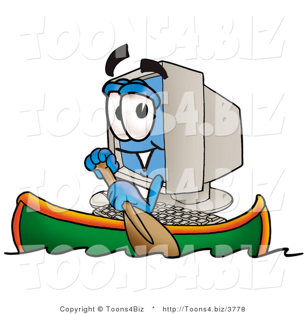 Illustration of a Cartoon Computer Mascot Rowing a Boat