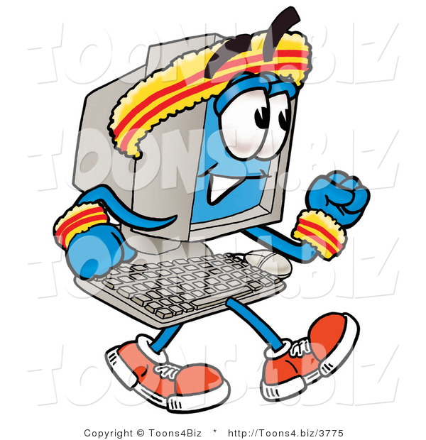 Illustration of a Cartoon Computer Mascot Speed Walking or Jogging