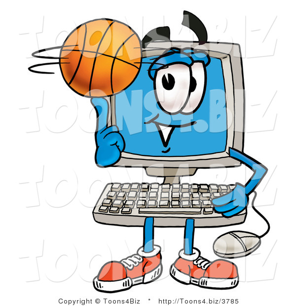 Illustration of a Cartoon Computer Mascot Spinning a Basketball on His Finger