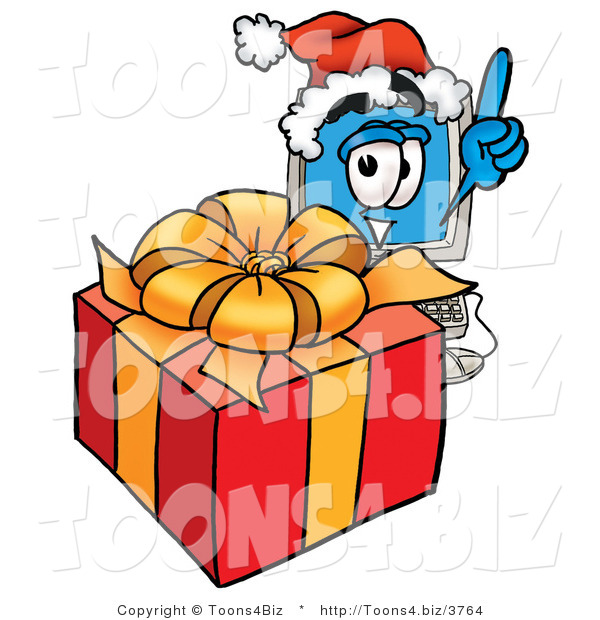 Illustration of a Cartoon Computer Mascot Standing by a Christmas Present