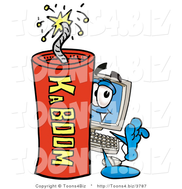 Illustration of a Cartoon Computer Mascot Standing with a Lit Stick of Dynamite